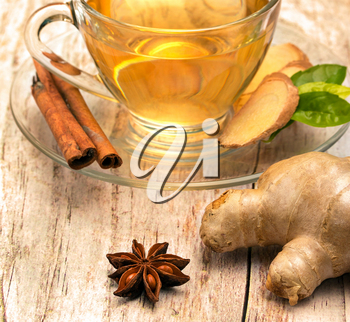 Spiced Ginger Tea Representing Teacup Organic And Teas