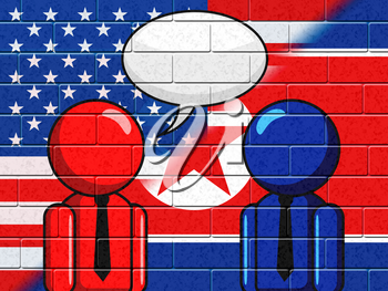 North Korean American Talks Speech Bubble 3d Illustration. Conflict And Accord To Build Peace With US Copy Space