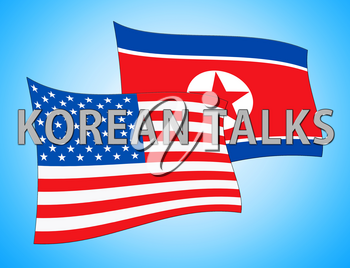 North Korean Talks Flags In Singapore 3d Illustration. Conflict And Accord To Build Peace With US