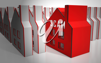 Property Scam Hoax Icon Depicting Mortgage Or Real Estate Fraud. Residential Properties Realty Swindle - 3d Illustration