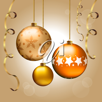 Background with Christmas balls and ribbons, vector illustration