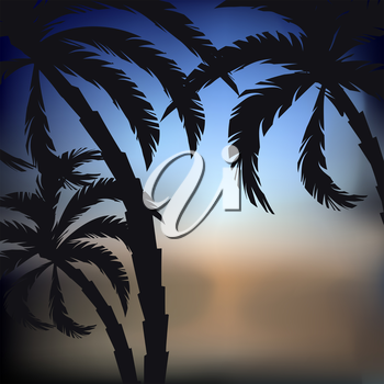 Abstract sunset background with palm trees silhouettes, vector illustration