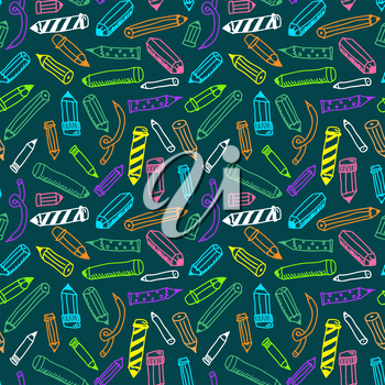 Pencils sketch seamless colorful pattern in doodle style, vector illustration