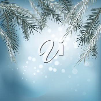 Winter background. Winter snow landscape with wooden table in front. Vector illustration