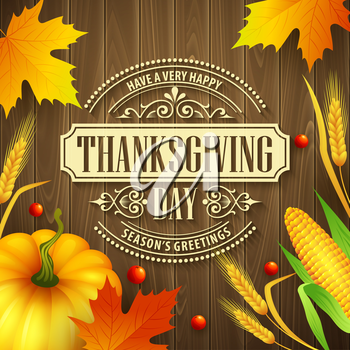 Hand drawn thanksgiving greeting card with leaves, pumpkin and spica on wood background. Vector illustration EPS 10