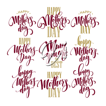 Mothers Day vector greeting card calligraphy lettering template. Vector illustration EPS10