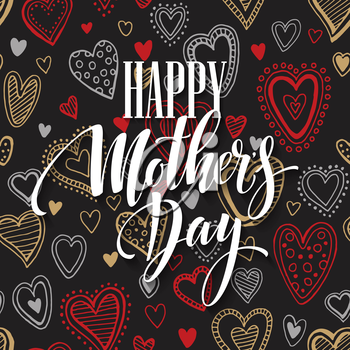 Mothers Day vector greeting card. Hand drawn calligraphy lettering title with heart seamless pattern. Black background. EPS10
