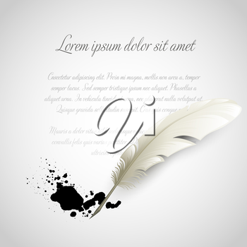 Vintage white Feather Pen and ink splash. Vector illustration