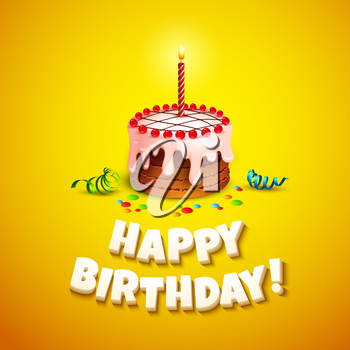 Happy birthday greeting card with cake. Vector illustration EPS 10