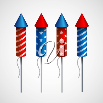 Set of pyrotechnic rockets. Vector illustration EPS 10