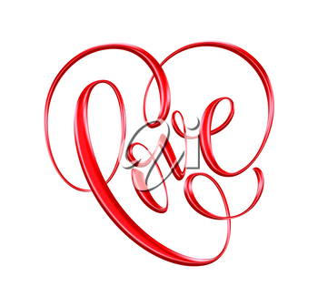 Love red hand drawn brush calligraphy. Vector illustration EPS10