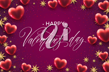 Happy valentines day lettering with red hearts balloon background. Vector illustration EPS10