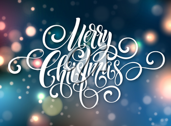 Merry Christmas handwriting script lettering. Christmas greeting background with bokeh. Vector illustration EPS10