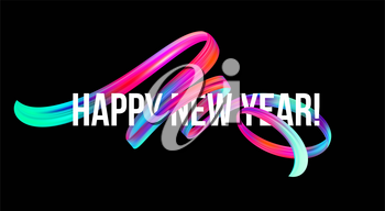 New Year on the background of a colorful brushstroke oil or acrylic paint design element. Vector illustration EPS10