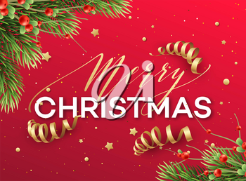 Merry Christmas greeting card vector template. Merry Christmas lettering with streamers, glitter, stars, fir tree branches and mistletoe twigs. Red Xmas holiday poster, banner, greeting card design