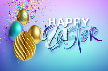 Modern trendy Golden metallic shiny typography Happy Easter on a background of easter eggs. 3D realistic lettering for the design of flyers, brochures, leaflets, posters and cards Vector illustration EPS10