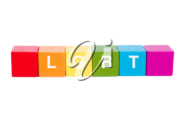 LGBT word on cubes of rainbow colors. Isolate