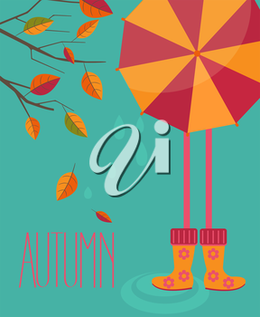 Vector illustration of a autumn season in flat style - tree with leafs and girl with a bright umbrella and boots with the inscription made by hand the Autumn.