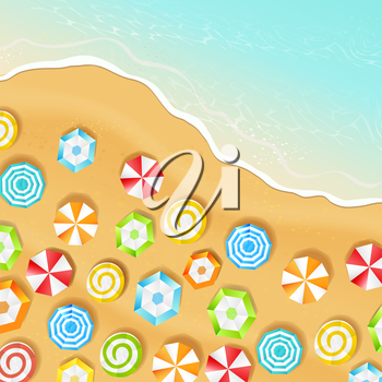 Summer beach and view by the top, vector illustration.