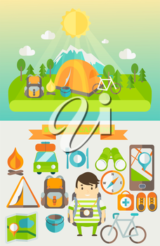 Summer Holiday and Travel themed Summer Camp poster in flat style. Hiking, mountain and travel icons, vector illustration.