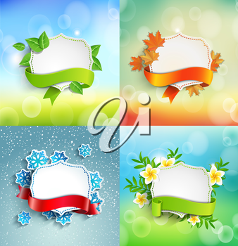 Vintage frame with ribbon and place for the text with tropical flowers and leaves on a natural bokeh background, vector illustration.