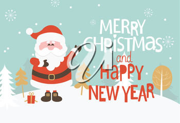 Christmas Greeting Card. Merry Christmas and happy new year lettering. Vector illustration.