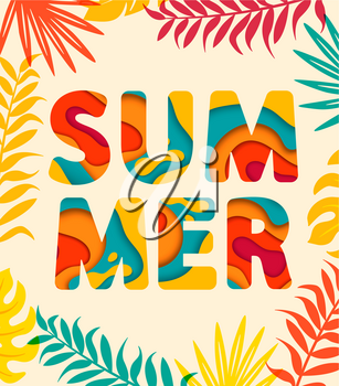 Summer card with tropical leaves on background. Vector illustration.