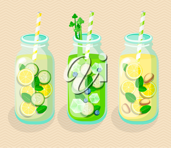 Set of Detox cocktails. Vector illustration for diet menu, cafe and restaurant menu. Fresh smoothies, detox, fruit cocktail for healthy life.