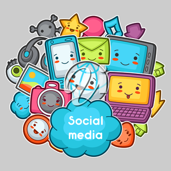 Kawaii gadgets social media items. Doodles with pretty facial expression. Illustration of phone, tablet, globe, camera, laptop, headphones and other.