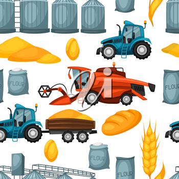 Agricultural seamless pattern with harvesting items. Combine harvester, tractor and granary.