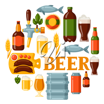 Background design with beer icons and objects.