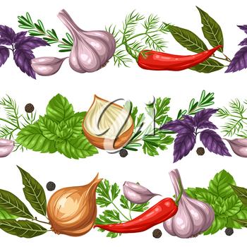 Seamless borders with various herbs and spices.