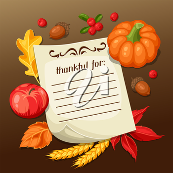 Thanksgiving Day greeting card. Background with note and autumn objects.