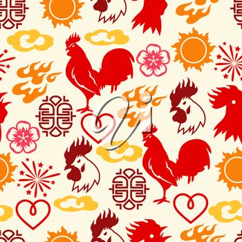 Seamless pattern with symbols of 2017 by Chinese calendar.