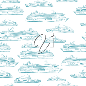 Seamless sea hand drawn pattern with ships.