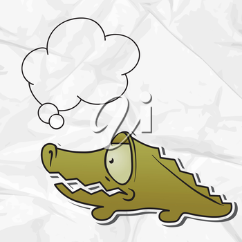 EPS 8 crumpled paper background with vector crocodile.