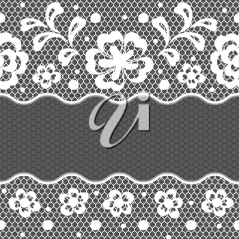 Lace fabric seamless border with abstract flowers.