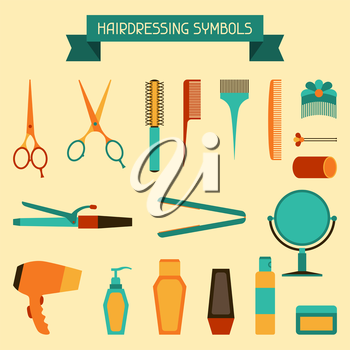 Set of hairdressing symbols and objects.