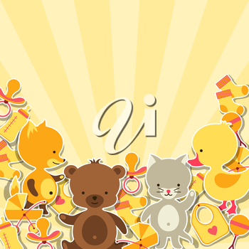 Background invitation card with little animal stickers.