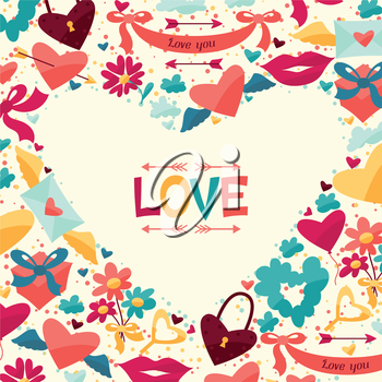 Background design with Valentine's and Wedding icons.