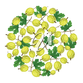 Nature background design with stylized fresh gooseberries.