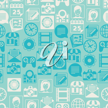 Seamless pattern with web and mobile icons.