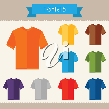 T-shirts colored templates for your design in flat style.