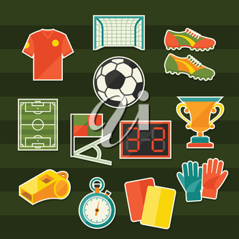 Soccer (football) sticker icon set in flat design style.