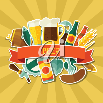 Background design with beer sticker icons and objects.