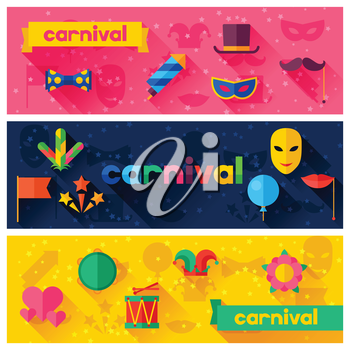 Celebration festive banners with carnival flat icons and objects.