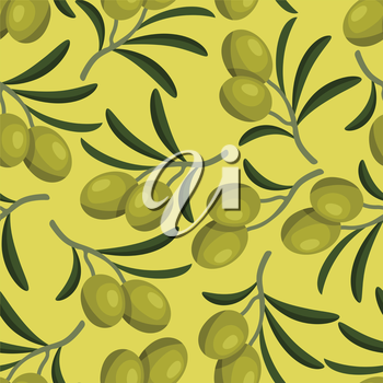 Seamless vector pattern with fresh ripe olive branches.