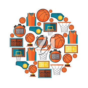 Sports background with basketball icons in flat style.