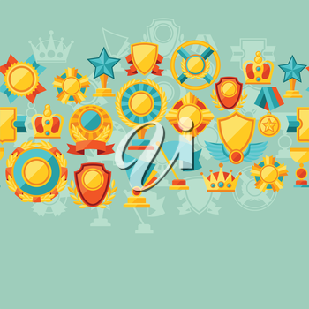 Seamless pattern with trophy and awards in flat design style.