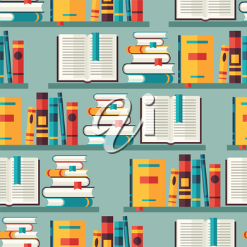 Seamless pattern with books on bookshelves in flat design style.